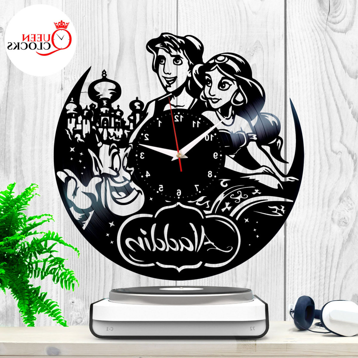 Trendy Details About Aladdin Lamp Jasmine Disney Vinyl Record Clock Classic Decor Kids Birthday Decor Pertaining To Blended Fabric Aladin European Wall Hangings (View 12 of 20)