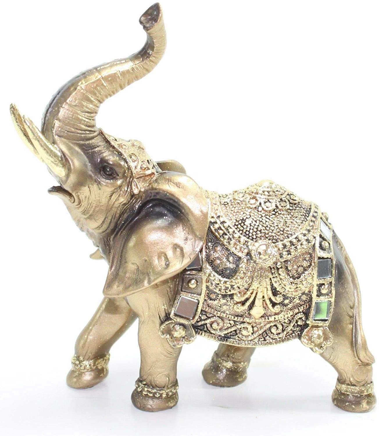"Trendy Feng Shui 7""(h) Brass Color Elegant Elephant Trunk Statue Wealth Lucky Figurine Home Decor Gift Us Seller Intended For Gold Elephants Sculpture Wall Décor (View 9 of 20)"