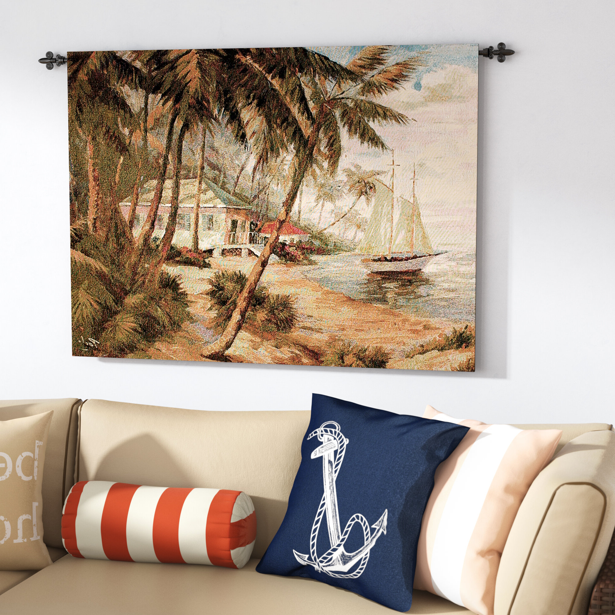 Trendy Key West Hideaway Tapestry Regarding Blended Fabric Autumn Tranquility Verse Wall Hangings (View 13 of 20)