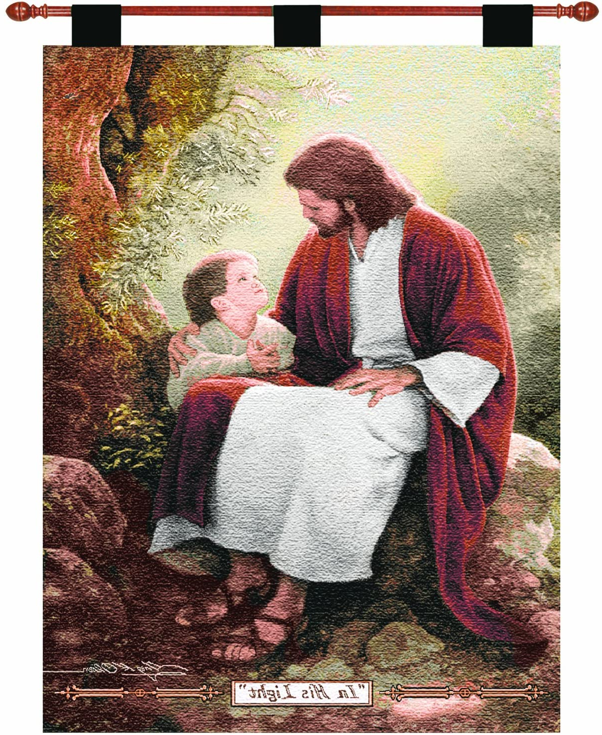 "Trendy Manual Inspirational Collection 26 X 36 Inch Christian Hanging Multicolor Woven Wall Art Tapestry Décor With Finial Rod, ""in His Light""greg Olsen, With Regard To Blended Fabric Freedom Verse Tapestries And Wall Hangings (View 10 of 20)"