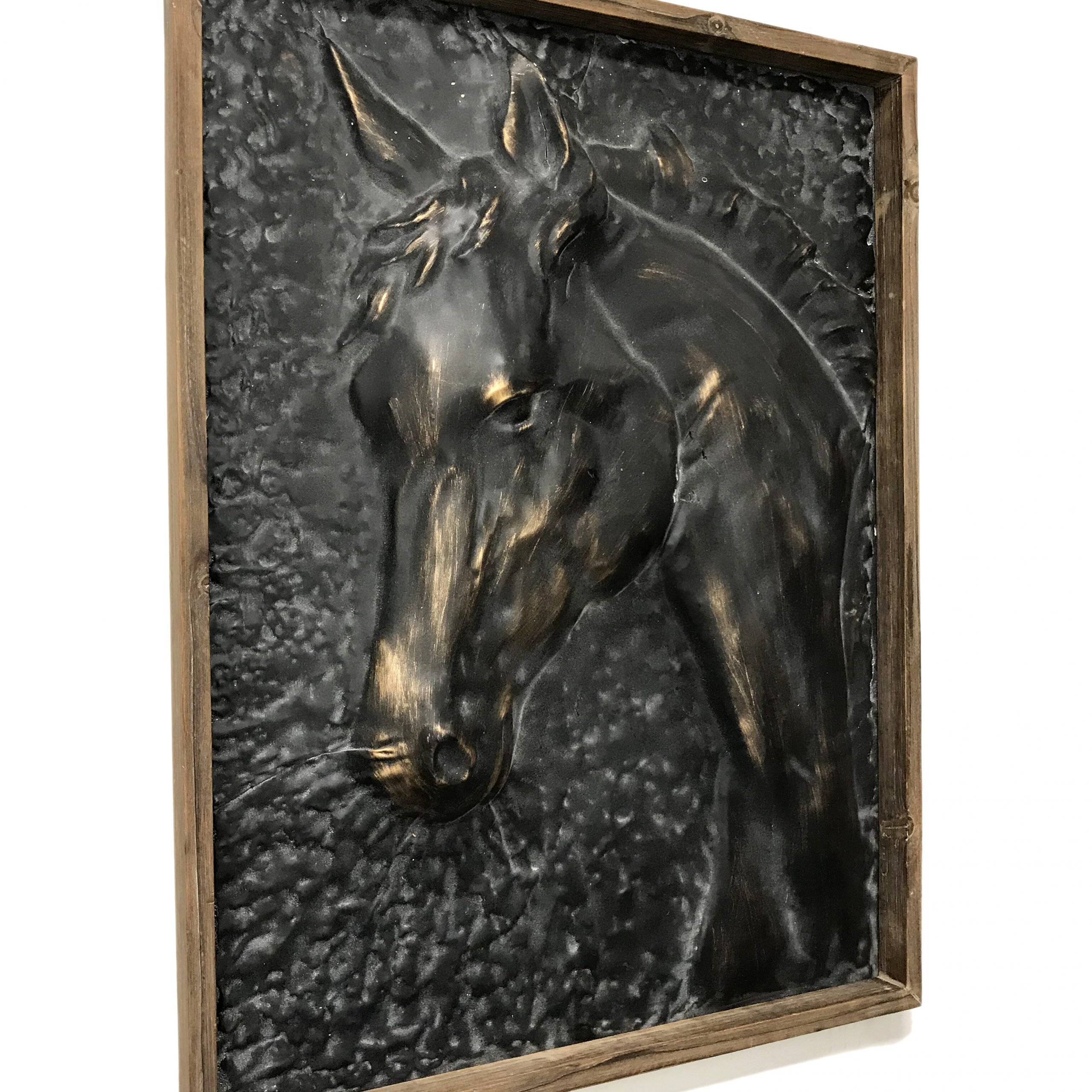 Trendy Metal Wall Décor By Charlton Home For Home & Garden Charlton Home Wood Framed Metal Embossed Horse (View 9 of 20)