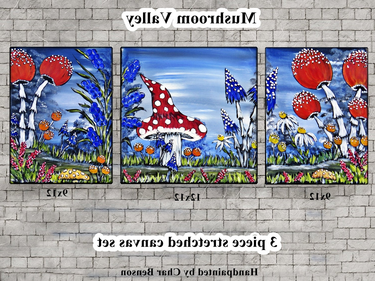 Trendy Mushroom Painting / Whimsical Fantasy Mushroom Wall In Whimsical Flower Wall Décor (View 8 of 20)