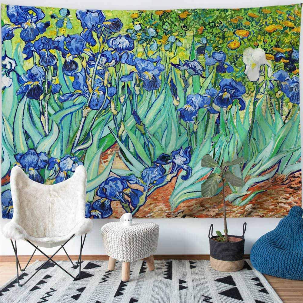 """Trendy Procida Van Gogh Tapestry Wall Hanging Irises Flower Oil Painting Nature Plant Floral Wall Art Home Decor For Dorm Bedroom Living Room, 60"""" W X 51"""" L, Regarding Blended Fabric Irises Tapestries (View 9 of 20)"""