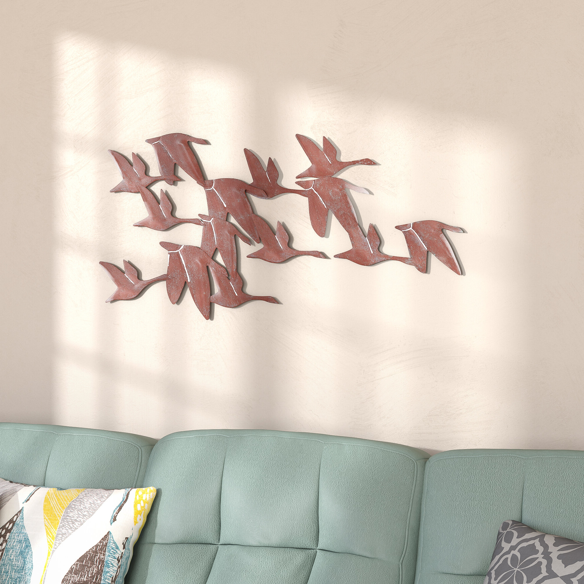Trendy Rustic Flock Of Geese Wall Sculpture Flying Birds 3 D Metal Inside Copper Rustic Iron Wall Décor (View 10 of 20)