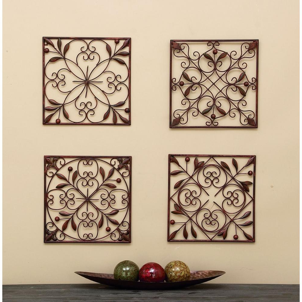 Trendy Traditional Metal Wall Plaque Regarding Wall Plaques Leaf Scroll Wall Plaques (set Of 4) (View 4 of 20)