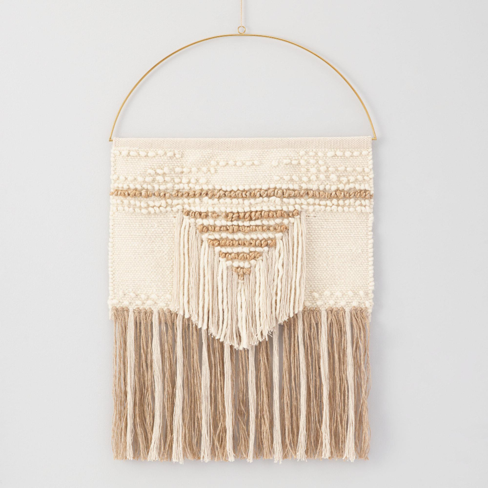 Trendy White And Gold Woven Wall Hanging (View 8 of 20)