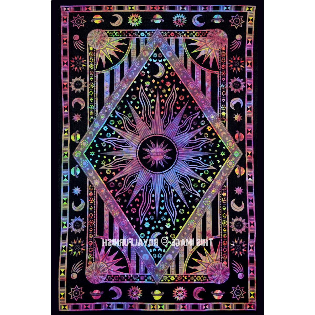 Twin Multi Tie Dye Celestial Sun Moon Stars Hippie Cotton Tapestry Wall Hanging Inside Recent Blended Fabric Celestial Wall Hangings (set Of 3) (View 9 of 20)