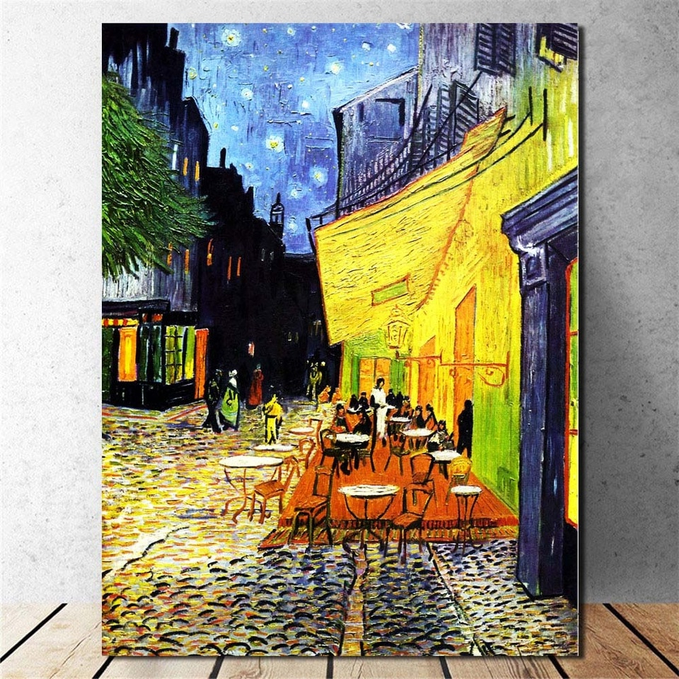 Van Gogh Art Canvas Print Paintings Starry Night With The Within Preferred Blended Fabric Van Gogh Terrace Wall Hangings (View 18 of 20)