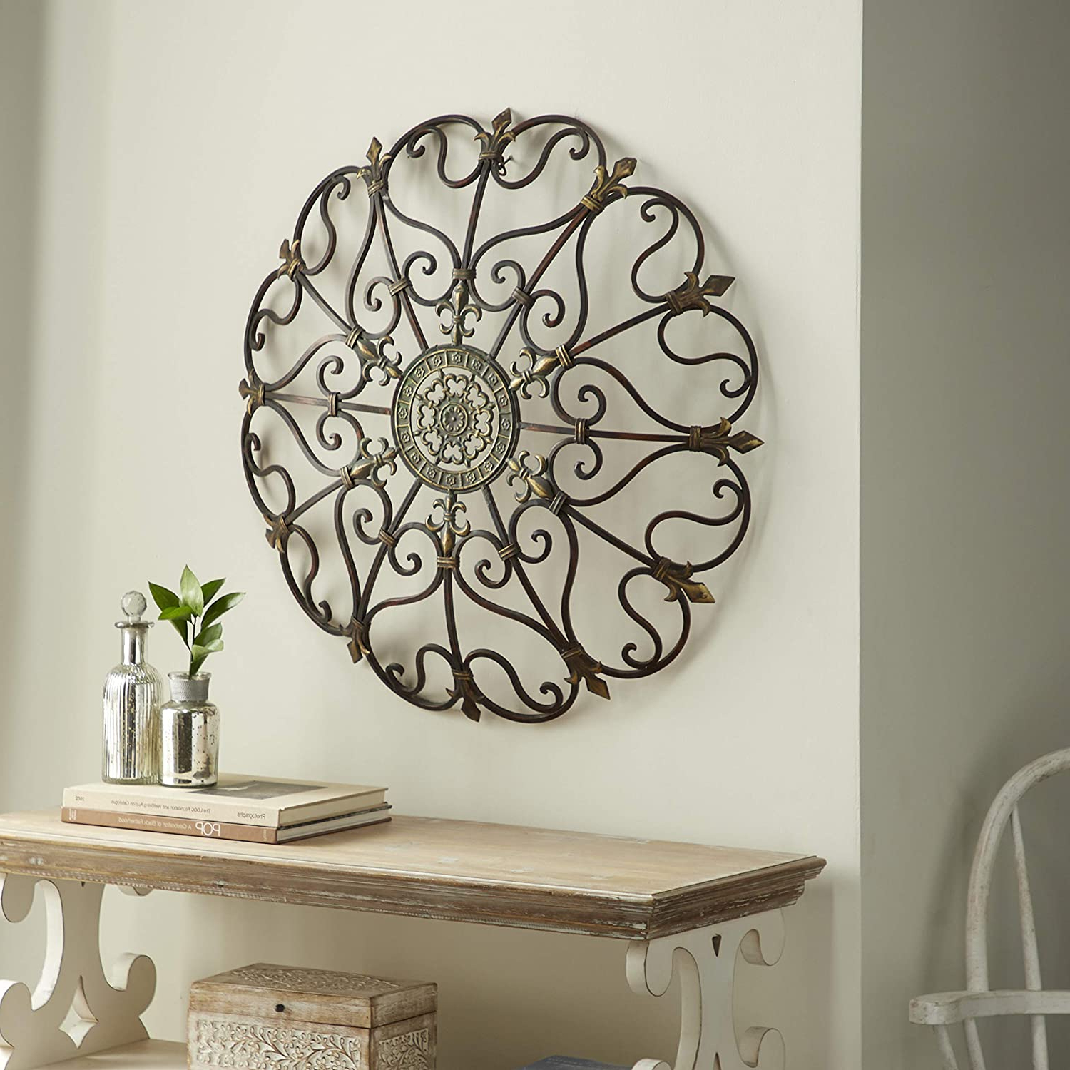 """Vintage Style Round Copper Metal Wall Decor W/ Fleur De Lis Accents, Copper And Gold Metal Wall Art, Fleur De Lis And Quatrefoil 3d Wall Art, 29"""" Throughout Latest Scroll Wall Décor By Fleur De Lis Living (View 7 of 20)"""