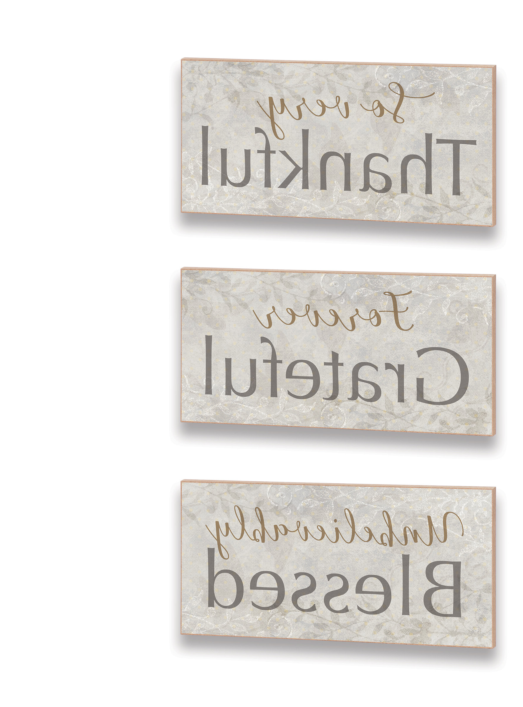 Wall Décor By Charlton Home Regarding Best And Newest 3 Piece Thankful Grateful Blessed Word Trio Plaque Wall Décor Set (View 11 of 20)