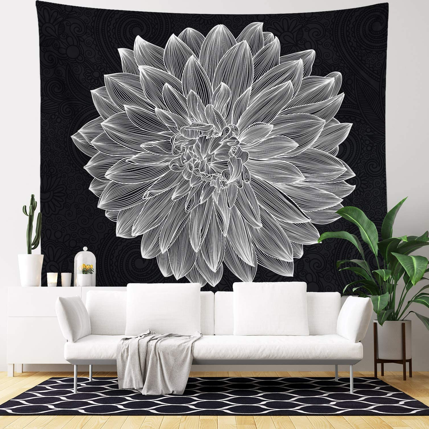 Wall Hanging Tapestry – Living Room Decor – Home Decor – Home Wall Art – Large Tapestries For Bedroom, College & Dorm (black And White Flower In 2019 Blended Fabric Hello Beauty Full Wall Hangings (View 9 of 20)