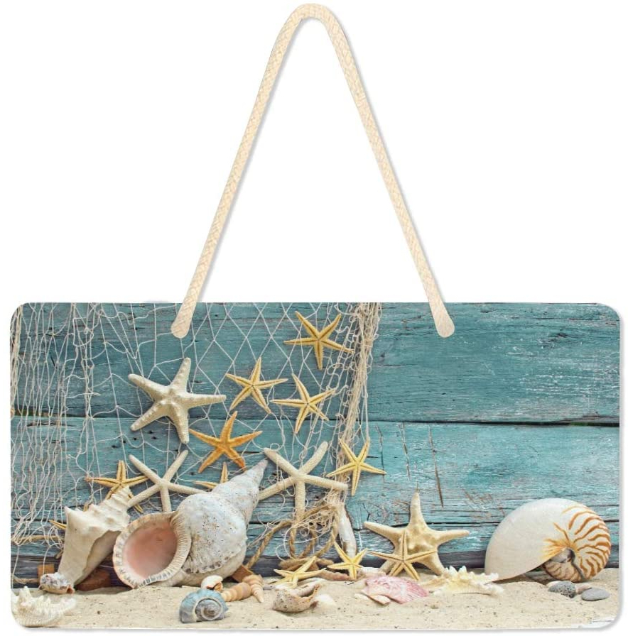 Wamika Welcome Summer Sea Star Beach Sand Wooden Door Hanging Sign Plaque Hello Spring Ocean Shell Tropical Palm Leaves Wall Signs Yard Indoor Outdoor Intended For Best And Newest Coastal Flag Sign With Rope Wall Décor (View 7 of 20)