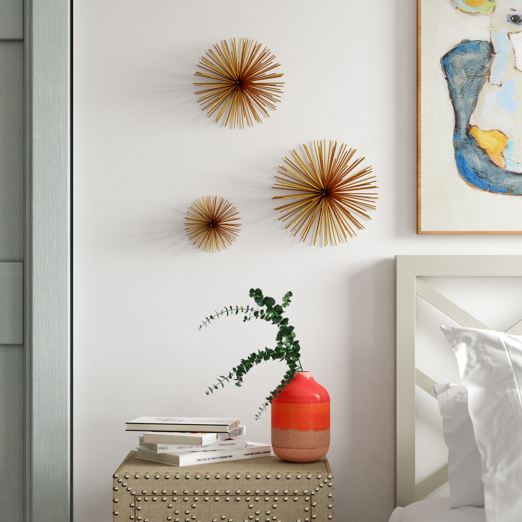 Well Known 3 Piece Large Starburst Wall Décor Set Throughout Starburst Wall Décor By Wrought Studio (View 11 of 20)
