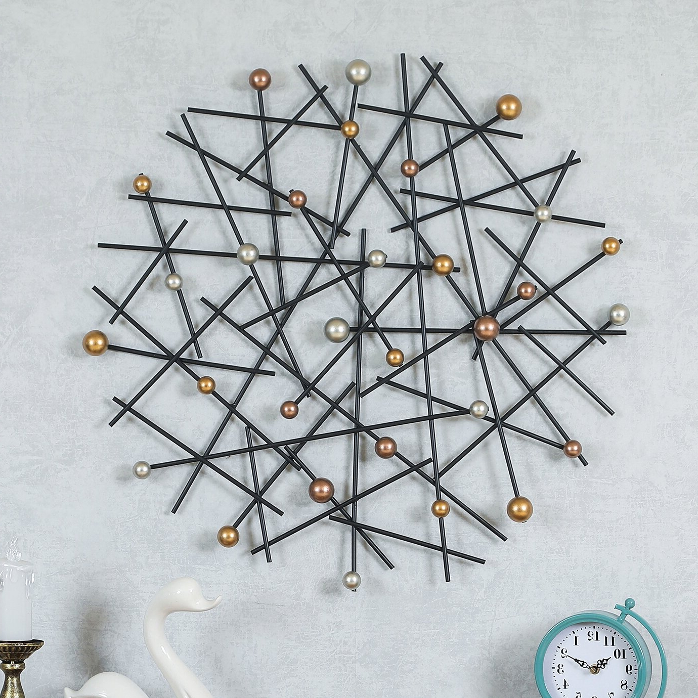 Well Known Abstract Pins Metal Wall Décor Intended For Metal Capiz Wall Decor By Wrought Studio (View 5 of 20)