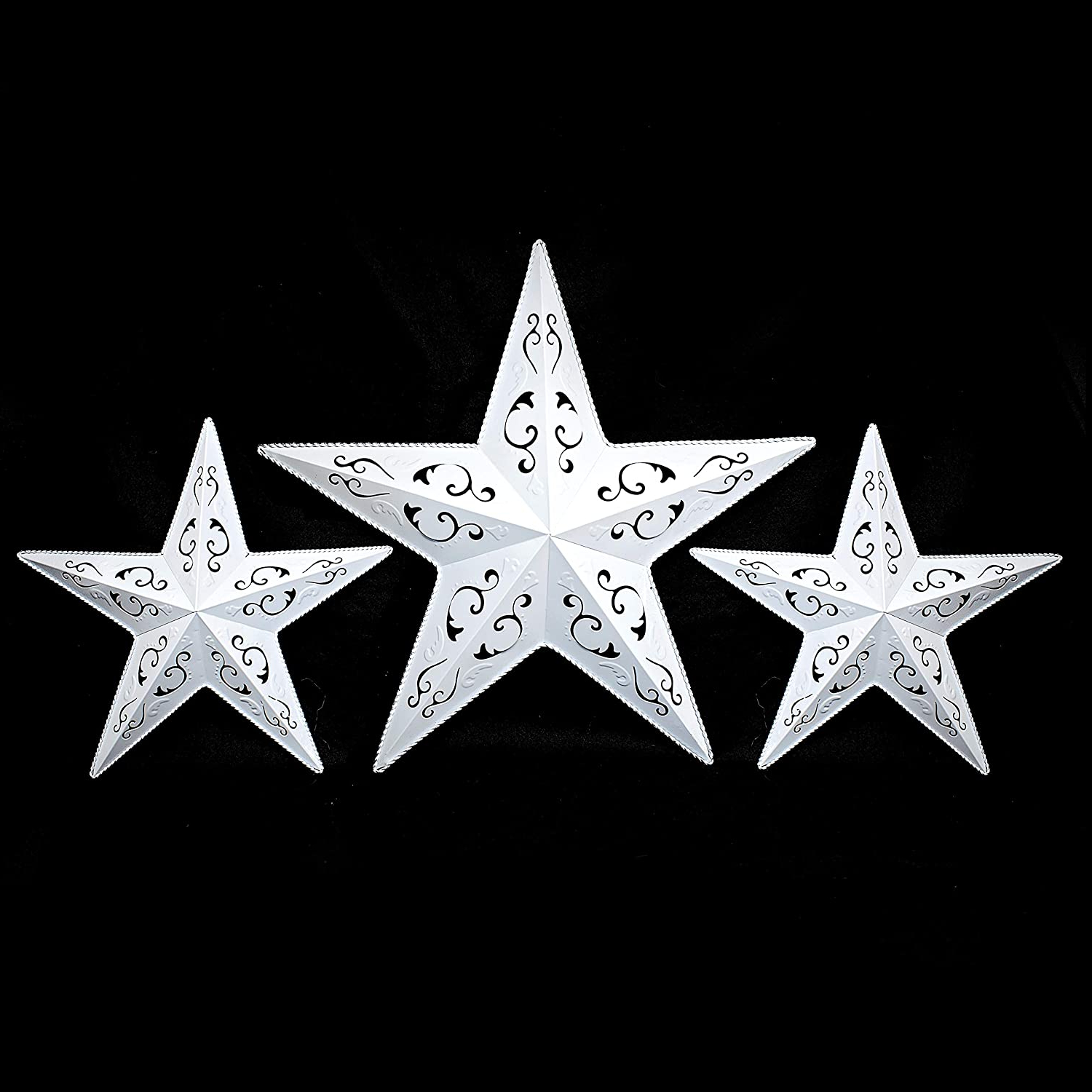 Well Known Barn Star Wall Décor (set Of 2) Intended For Grila White Lacy Metal Barn Star Set – 2 X 12 1 X 18 Rustic White Metal Star, Rustic Metal Stars For Metal Wall Decor, Rustic Wall Decor, Country (View 3 of 20)