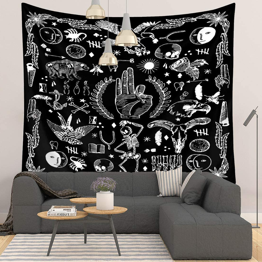 "Well Known Blended Fabric Amazing Grace Wall Hangings Regarding Black Tapestry Psychic Wall Tapestry Black And White Tapestry Wall Hanging Tarot Tapestry For Bedroom, Psychic Decor, 59""x51"" (View 17 of 20)"