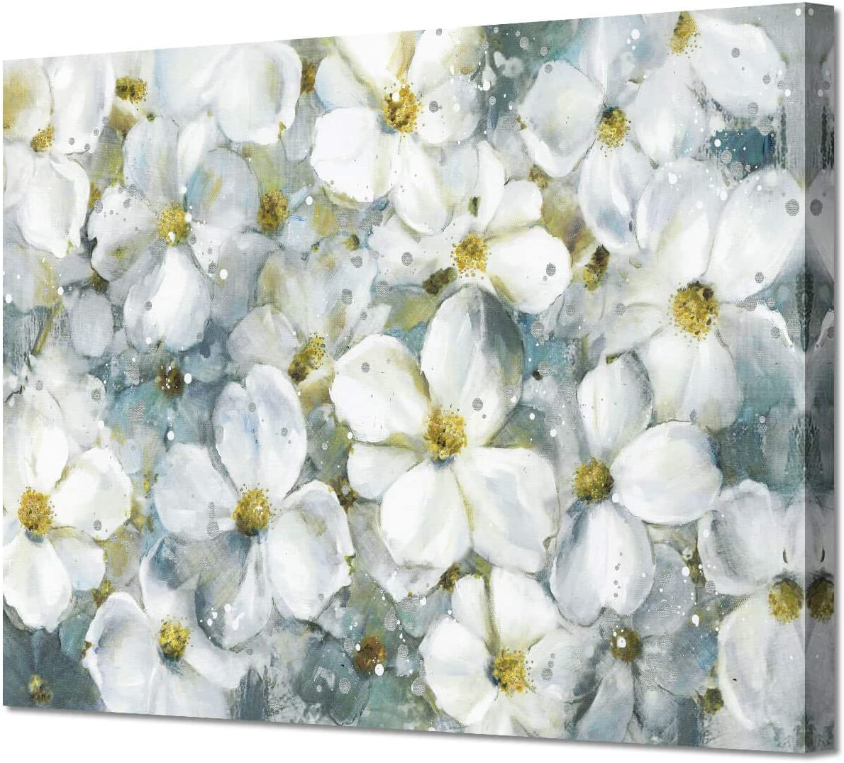 Well Known Blended Fabric Fruity Bouquets Wall Hangings Within Abstract Flower Wall Art Picture: White Floral Artwork Painting On Canvas For Living Room (36''w X 24''h,multi Sized) (View 7 of 20)