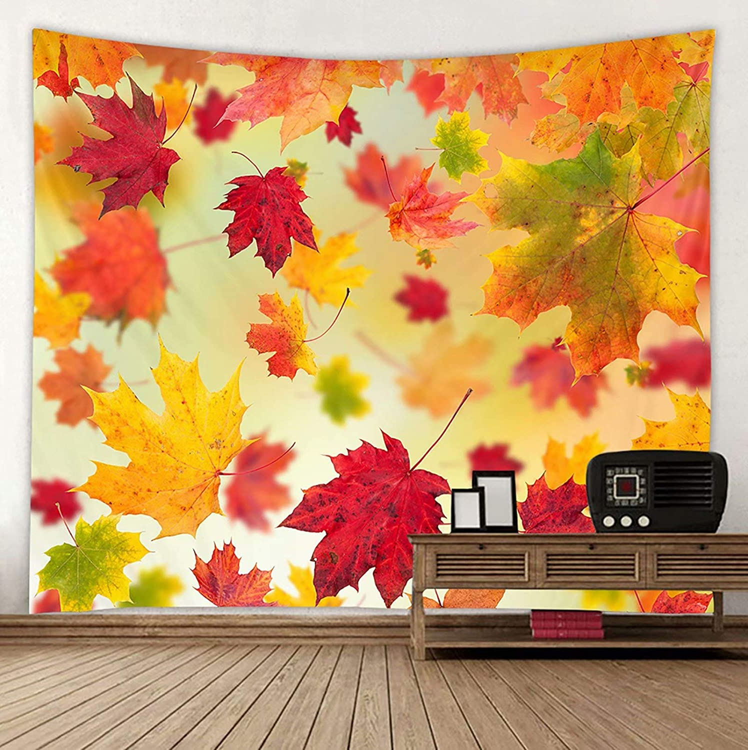 Well Known Blended Fabric Leaves Wall Hangings Pertaining To Shinesnow Fallen Fall Autumn Leaves Maple Wall Hanging Tapestry 60 X 51 Inches, Seasonal Golden Yellow House Decor Bedroom Living Room Dorm Tapestry (View 3 of 20)