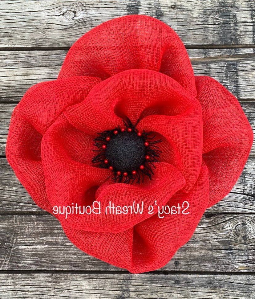 Well Known Blended Fabric Poppy Red Wall Hangings With Regard To Poppy Flower Wreath For Front Door, Summer Wreath, Farmhouse (View 10 of 20)