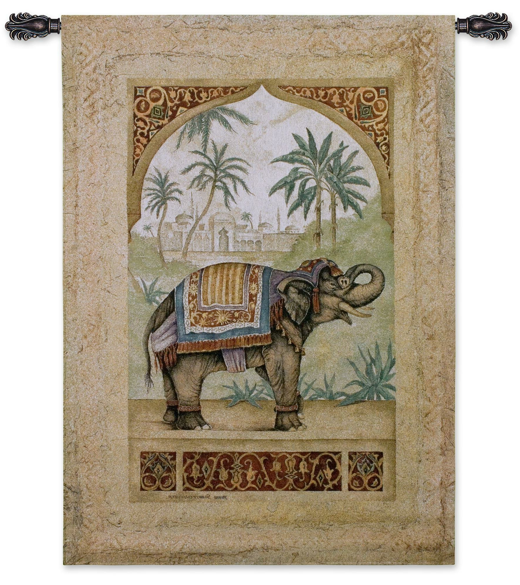 Well Known Blended Fabric Unicorn In Captivity Ii (with Border) Wall Hangings Throughout Old World Elephant Ii Tapestry (View 16 of 20)