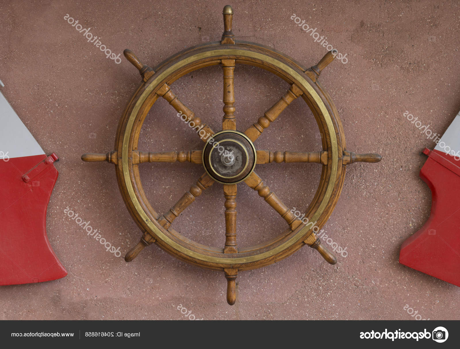 Well Known Brown/brass Wood Ship Wheel Wall Décor Intended For A Wooden Steering Wheel From A Sea Ship Hanging On A Wall (View 20 of 20)