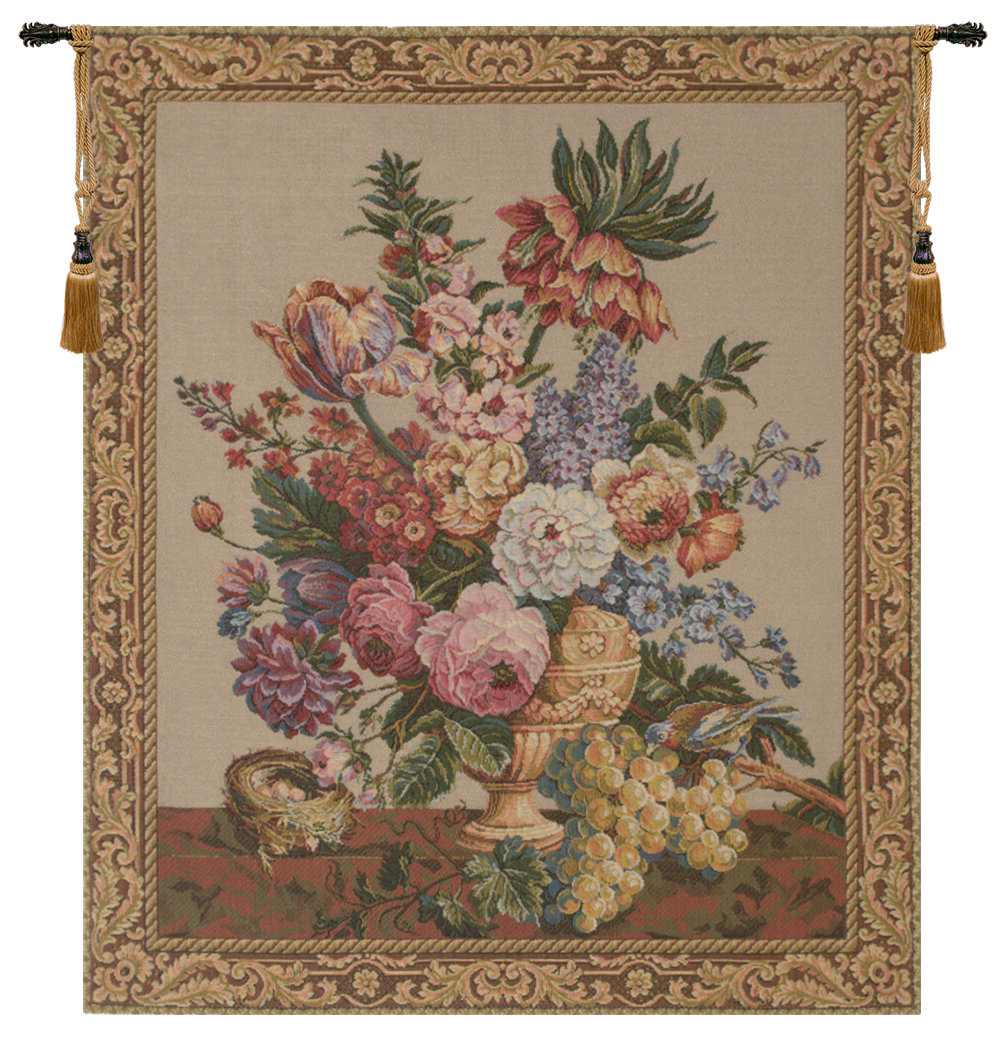 Well Known Brussels Bouquet Creme European Tapestry Wall Hanging For Blended Fabric Ethereal Days Chinoiserie Wall Hangings With Rod (View 14 of 20)