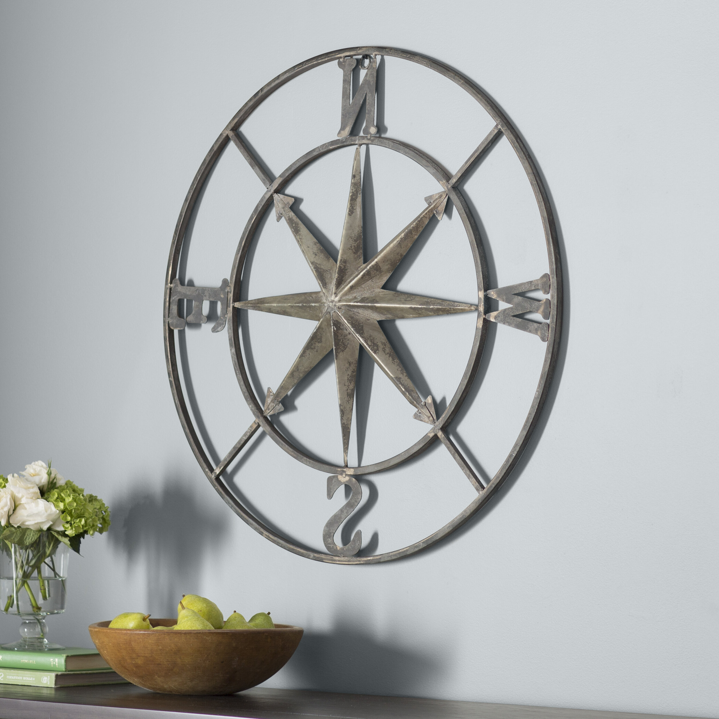 Well Known Compass Metal Wall Décor By Beachcrest Home Within Three Posts™ Round Compass Wall Décor & Reviews (View 4 of 20)