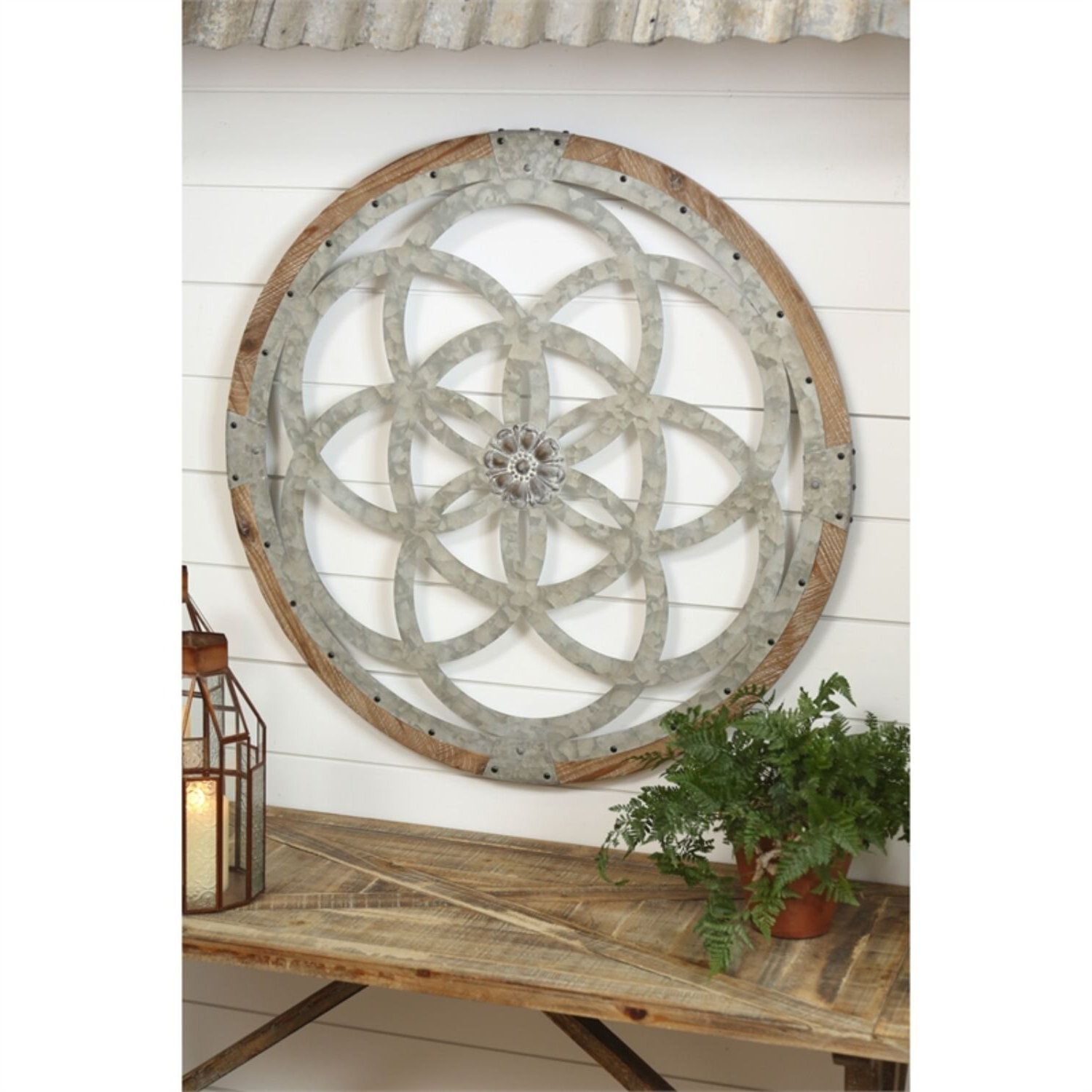 Well Known Galvanized Metal And Wood Medallion Wall Décor With European Medallion Wall Décor (View 20 of 20)