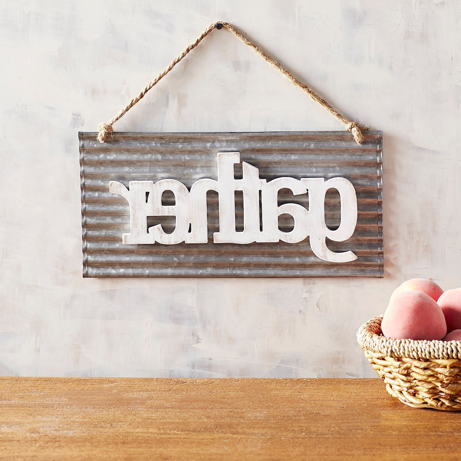 Well Known Gather Galvanized Metal Wall Décor Pertaining To Gather Galvanized Metal Hanging Wall Decor (View 5 of 20)