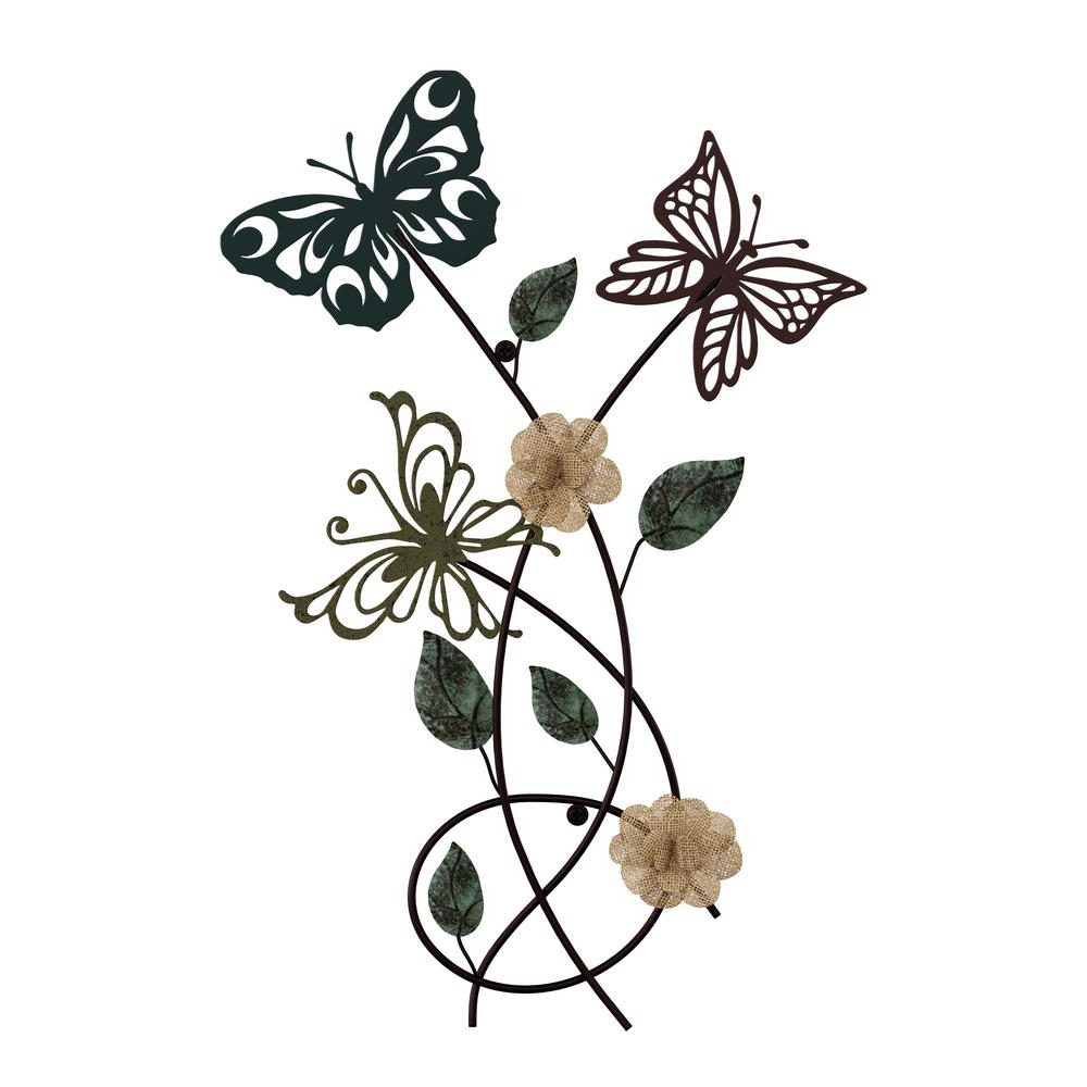 Well Known Multicolored Butterfly Bouquet Wall Décor For Lavish Home Metal Garden Butterflies Wall Art Hw0200078 – The Home Depot (View 11 of 20)