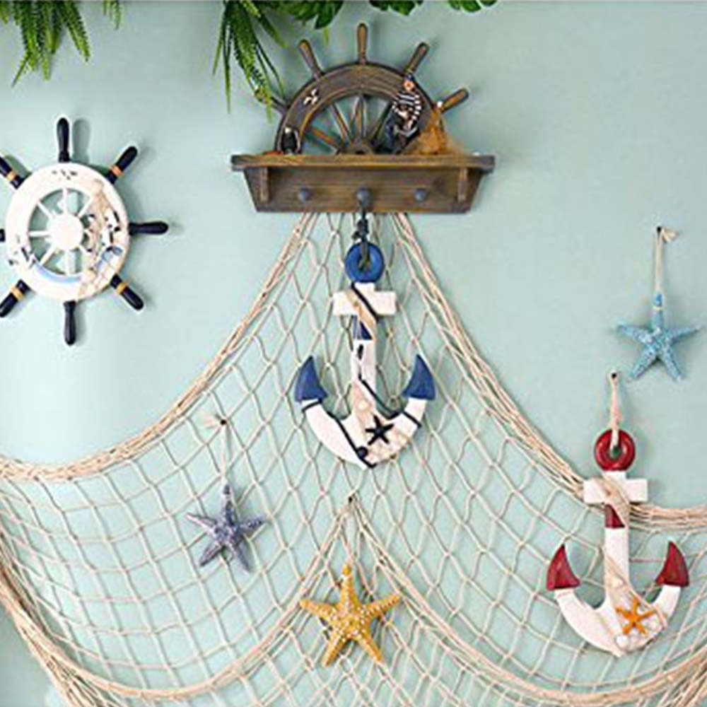 Well Known Ocean Theme Fishing Net Decoration,nautical Wall Hanging Decorative Fish Net For Pirate/sea/beach Theme Party,wall Table Decor(78inch) Mediterranean In Handcrafted Hanging Fish In Net Wall Décor (View 10 of 20)