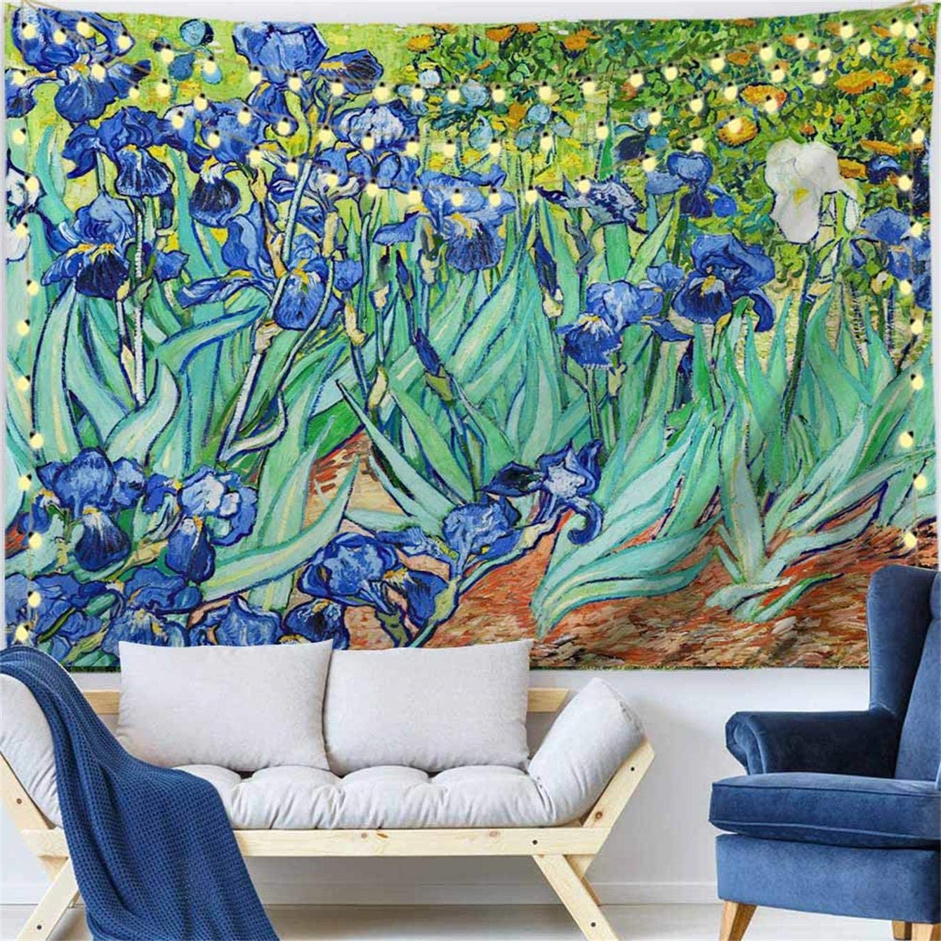 """Well Known Procida Van Gogh Tapestry Wall Hanging Irises Flower Oil Painting Nature Plant Floral Wall Art Home Decor For Dorm Bedroom Living Room, 60"""" W X 40"""" L, With Blended Fabric Irises Tapestries (View 7 of 20)"""
