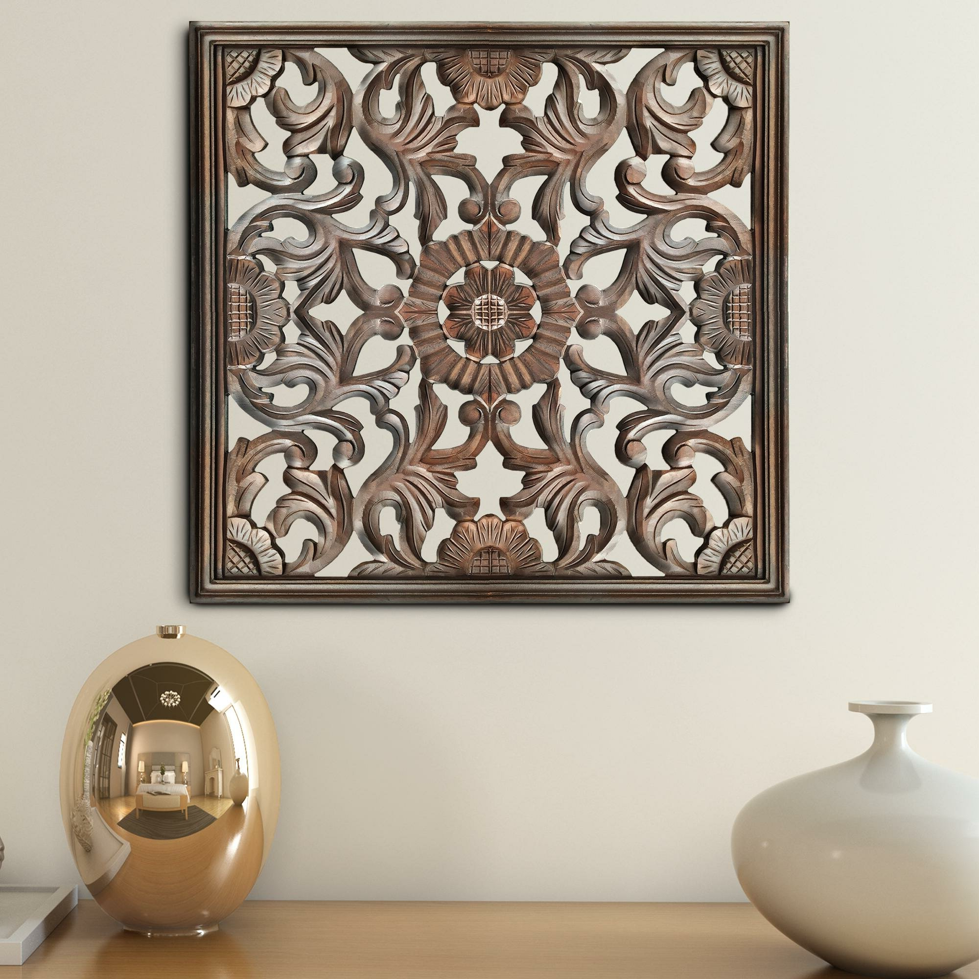 Well Known Square Wooden Wall Décor Regarding Brown Panel Wall Décor By World Menagerie (View 1 of 20)