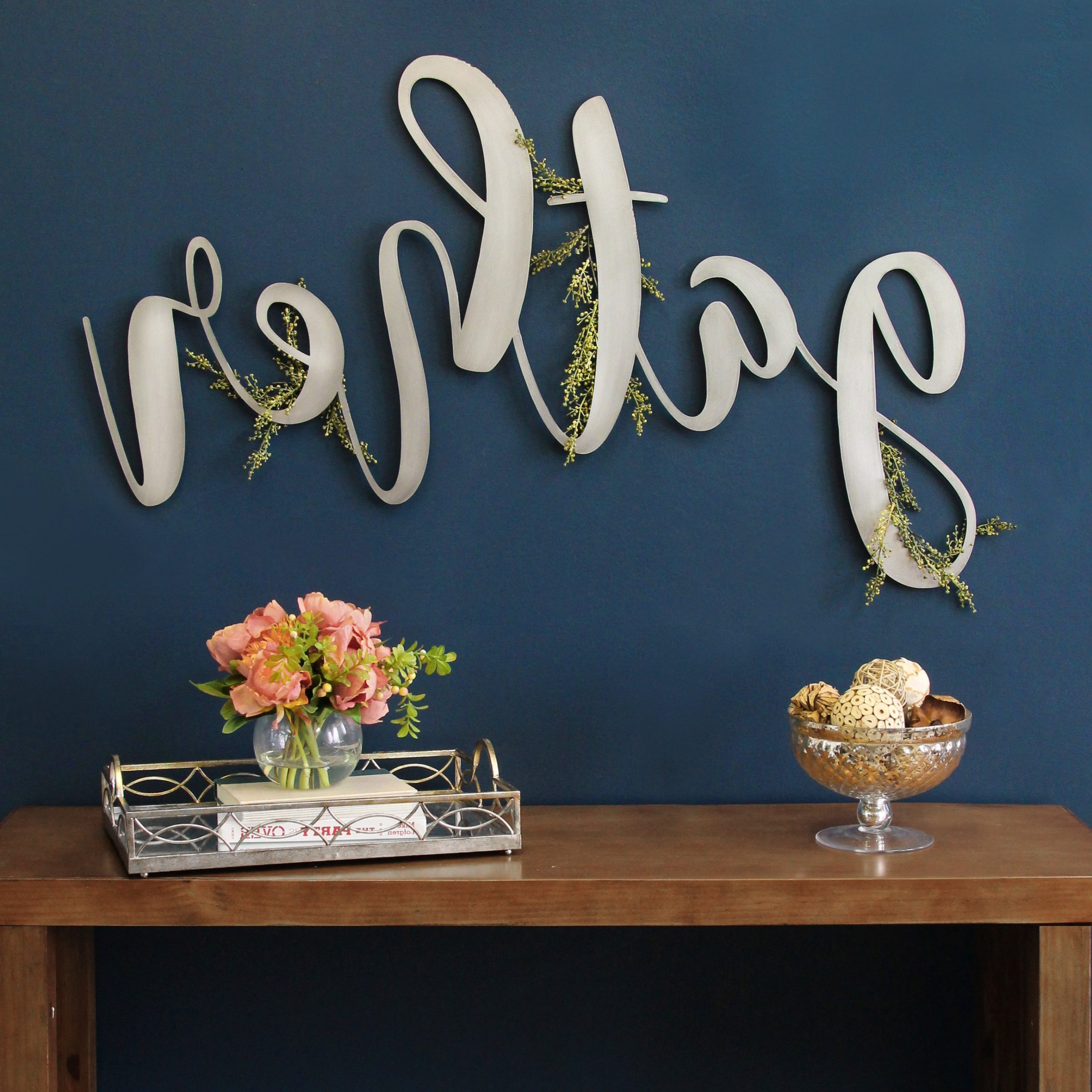 Well Known Stratton Home Decor Large Metal Gather Script Sign With Regard To Gather Galvanized Metal Wall Décor (View 17 of 20)