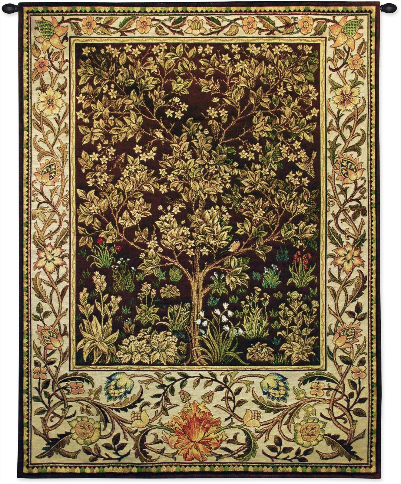 Well Known Tree Of Life Umber Bw Tapestry Pertaining To Blended Fabric Bellagio Scalinata Wall Hangings (View 12 of 20)