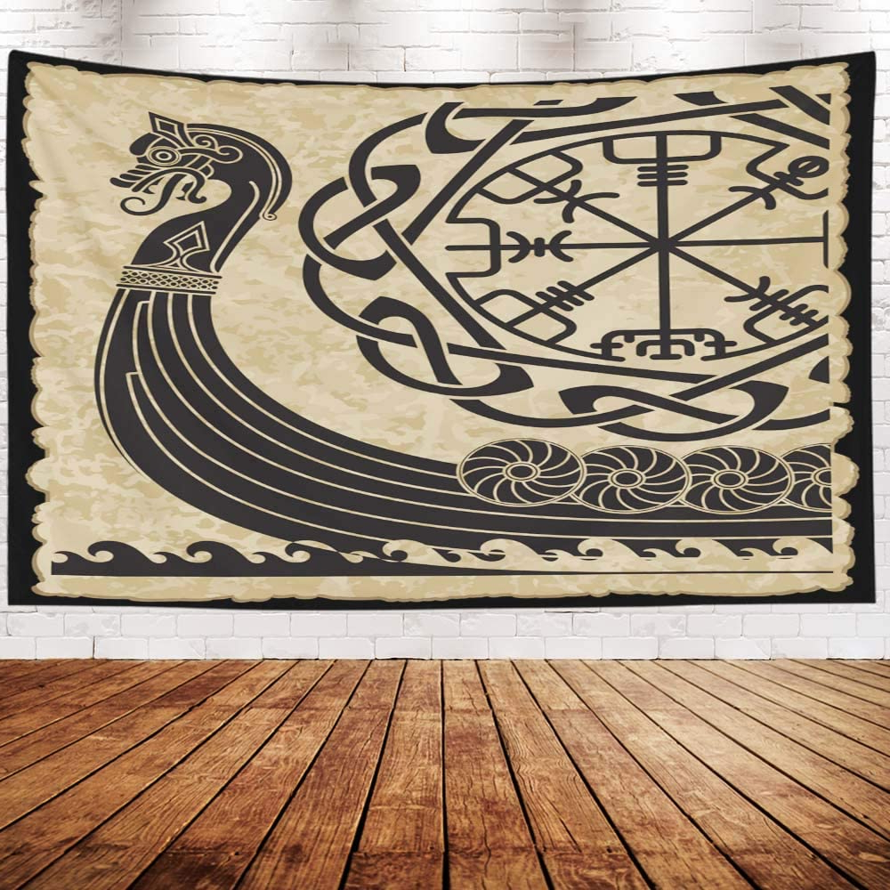 Well Known Wall Tapestry,capsceoll 80x60 Inches Of The Vikings Ancient Scandinavian Pattern And Norse Runes Isolated On White Drakkar Wall Hanging Tapestry For Within Blended Fabric Trust In The Lord Tapestries And Wall Hangings (View 8 of 20)