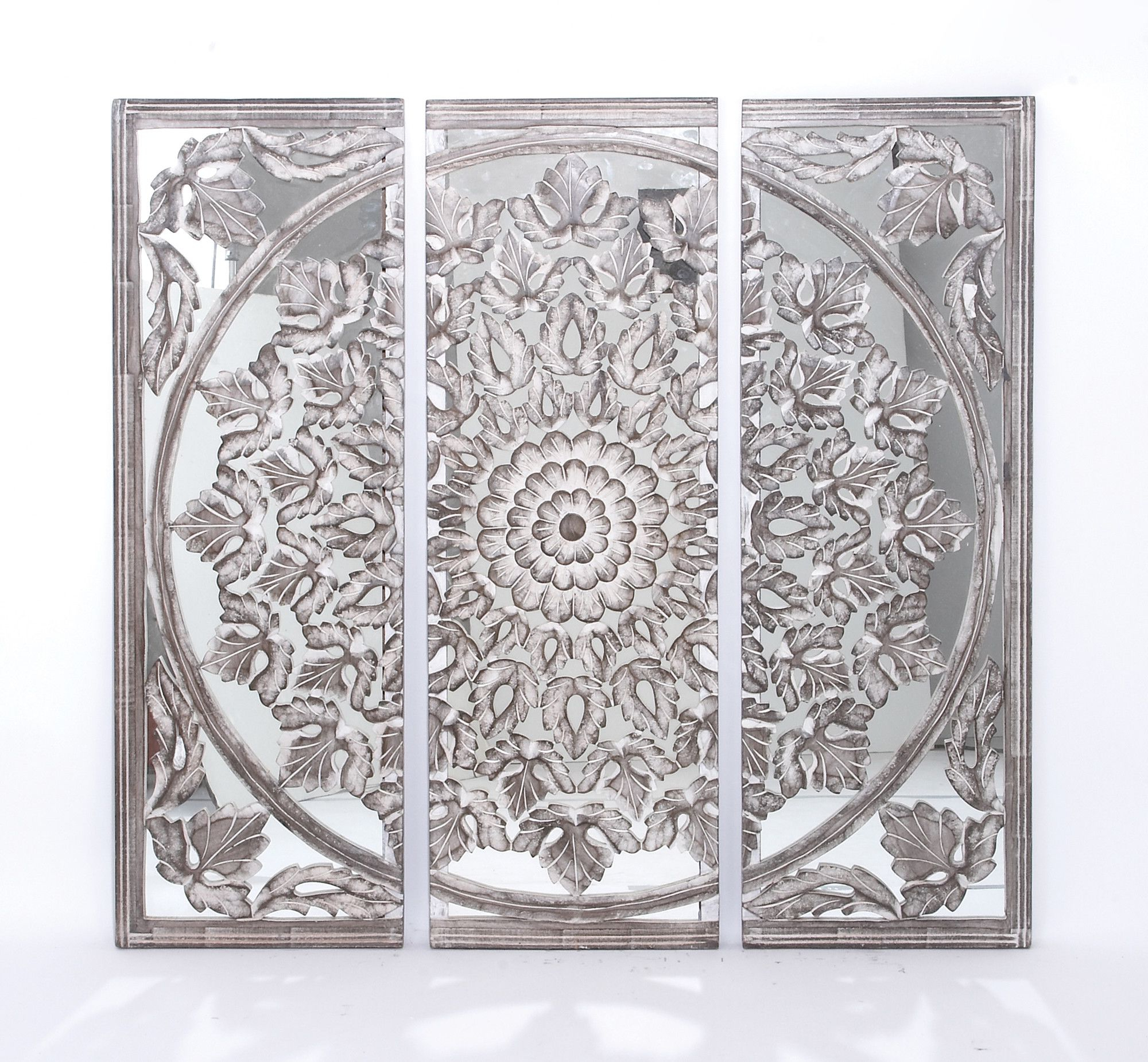 Well Known Woodland Imports 3 Piece Masterpiece Panel Wall Décor Set For 3 Piece Carved Ornate Wall Décor Set (View 7 of 20)