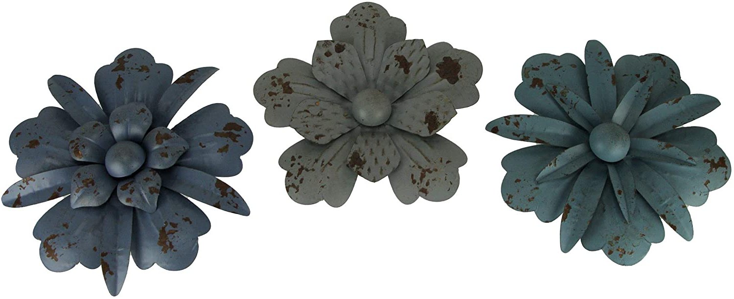 Well Known Zeckos Vintage Blue And Grey Metal Wall Art Flower Decor Hanging Sculptures Set Of 3 Intended For 3 Piece Metal Flower Wall Décor Set (View 17 of 20)