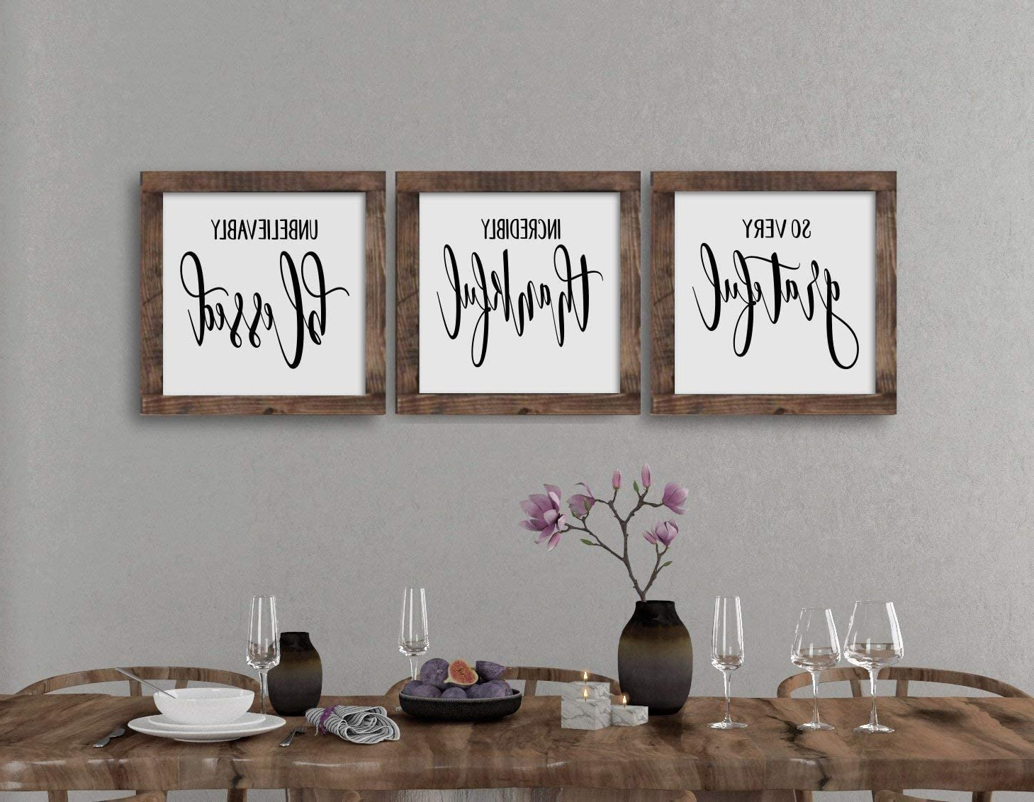 Well Liked Amazon: Wood Framed Sign Wooden Signs Grateful Thankful Pertaining To Grateful, Thankful, Blessed Wall Decor (View 2 of 20)