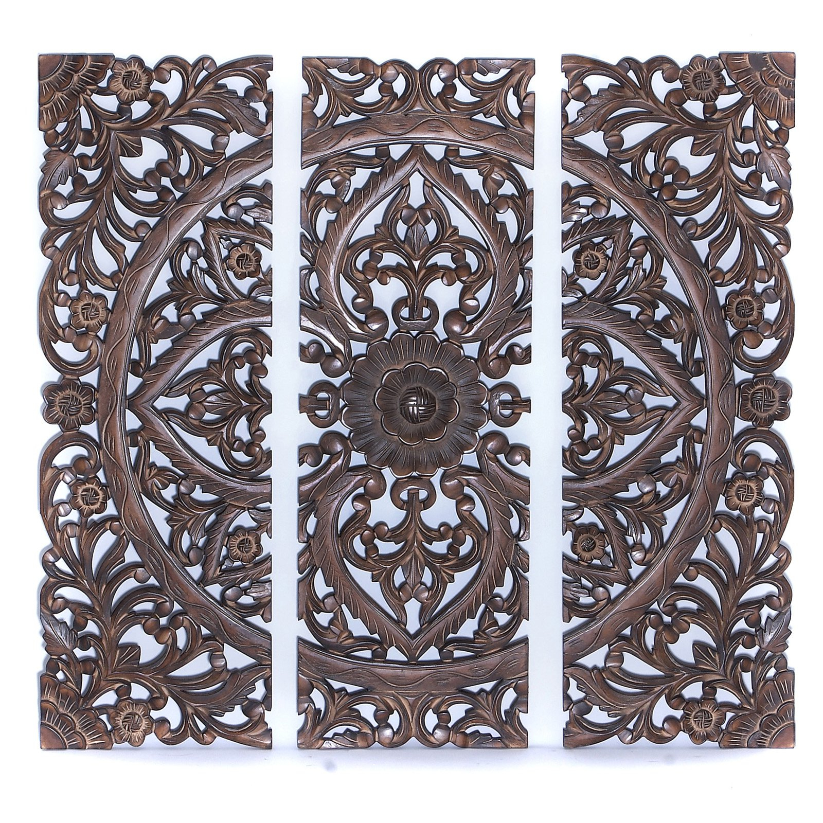 """Well Liked Benzara 14404 36""""h Modern Wood Wall Panel With Dark Finish (set Of 3) Inside 3 Piece Carved Ornate Wall Décor Set (View 15 of 20)"""