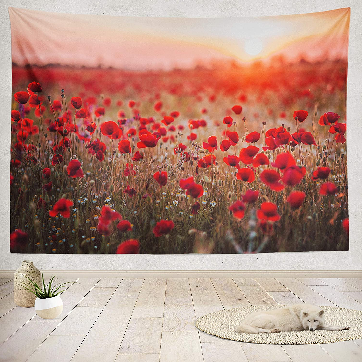 Well Liked Blended Fabric Poppy Red Wall Hangings In Asoco Tapestry Wall Handing Beautiful Field Red Poppies Sunset Light Russia Poppy Field Red Russia Wall Tapestry For Bedroom Living Room Tablecloth (View 2 of 20)