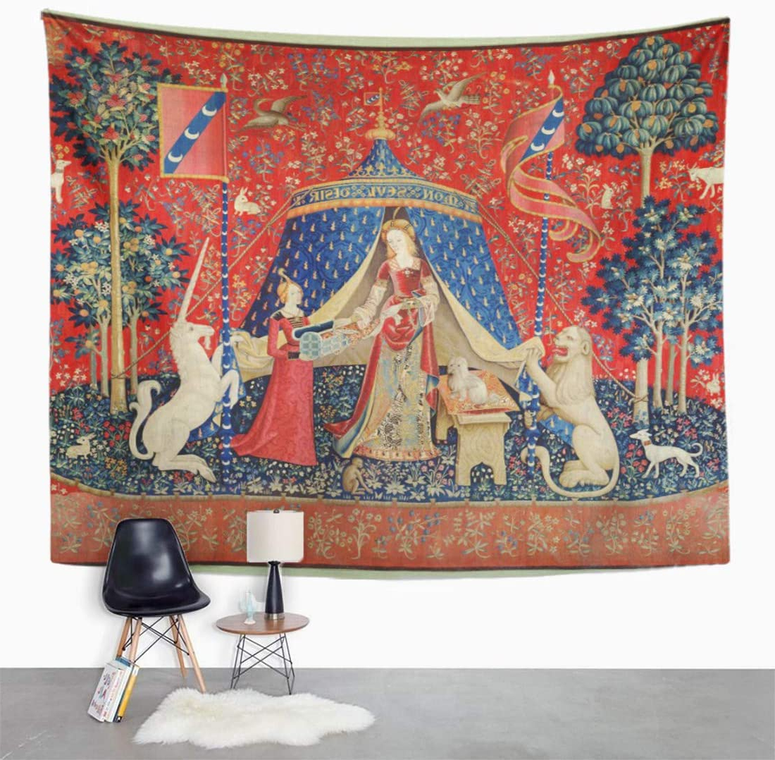 Well Liked Blended Fabric Unicorn Captive And Unicorn Hunt Wall Hangings Within Semtomn Tapestry Wall Hanging French The Lady And Unicorn To My Only 16th Polyester Fabric Home Decor Tapestries For Living Room Bedroom Dorm 60x (View 16 of 20)