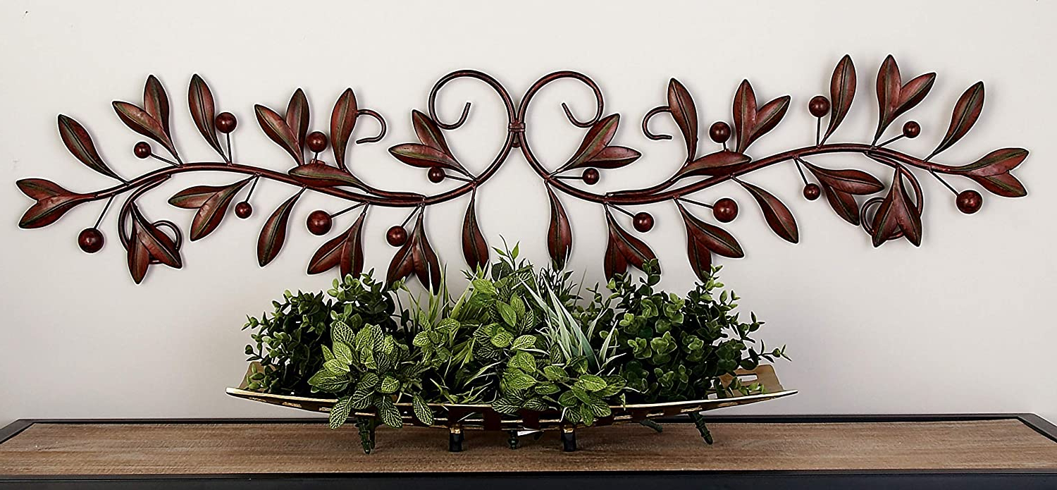 "Well Liked Deco 79 71885 Leaves And Berries Metal Scrollwork Wall Décor, 49"" W X 9"" H, Brown For Metal Leaf With Berries Wall Décor (View 3 of 20)"
