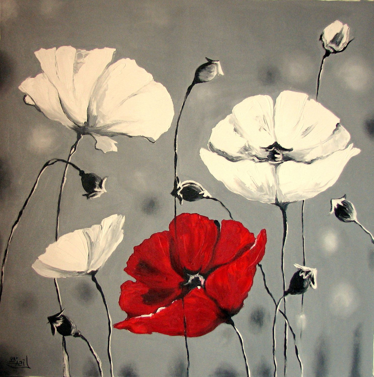 Well Liked Large Abstract Painting Original Oil Painting 51 X 51 In Blended Fabric Poppy Red Wall Hangings (View 16 of 20)