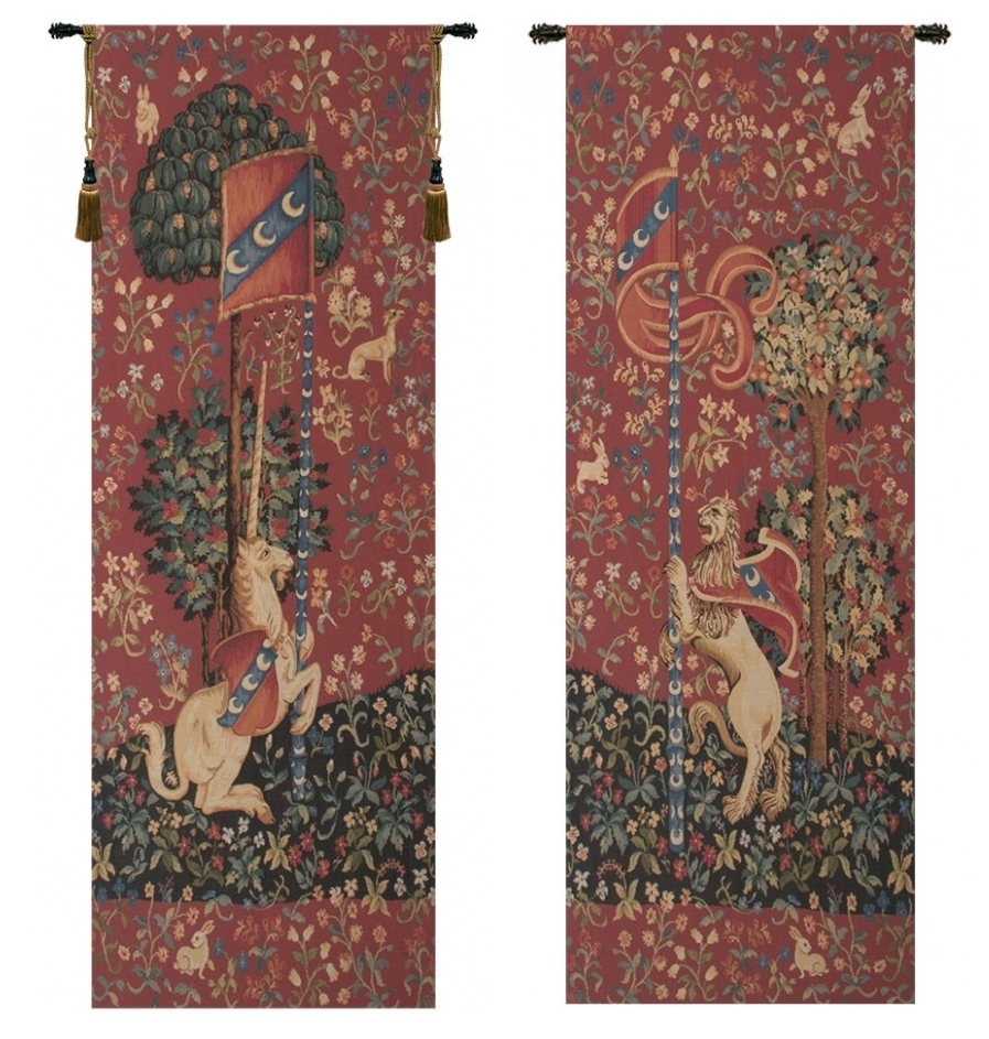 Well Liked Portiere Medieval Unicorn And Lion European Wall Tapestries Within Lion I European Tapestries (View 2 of 20)