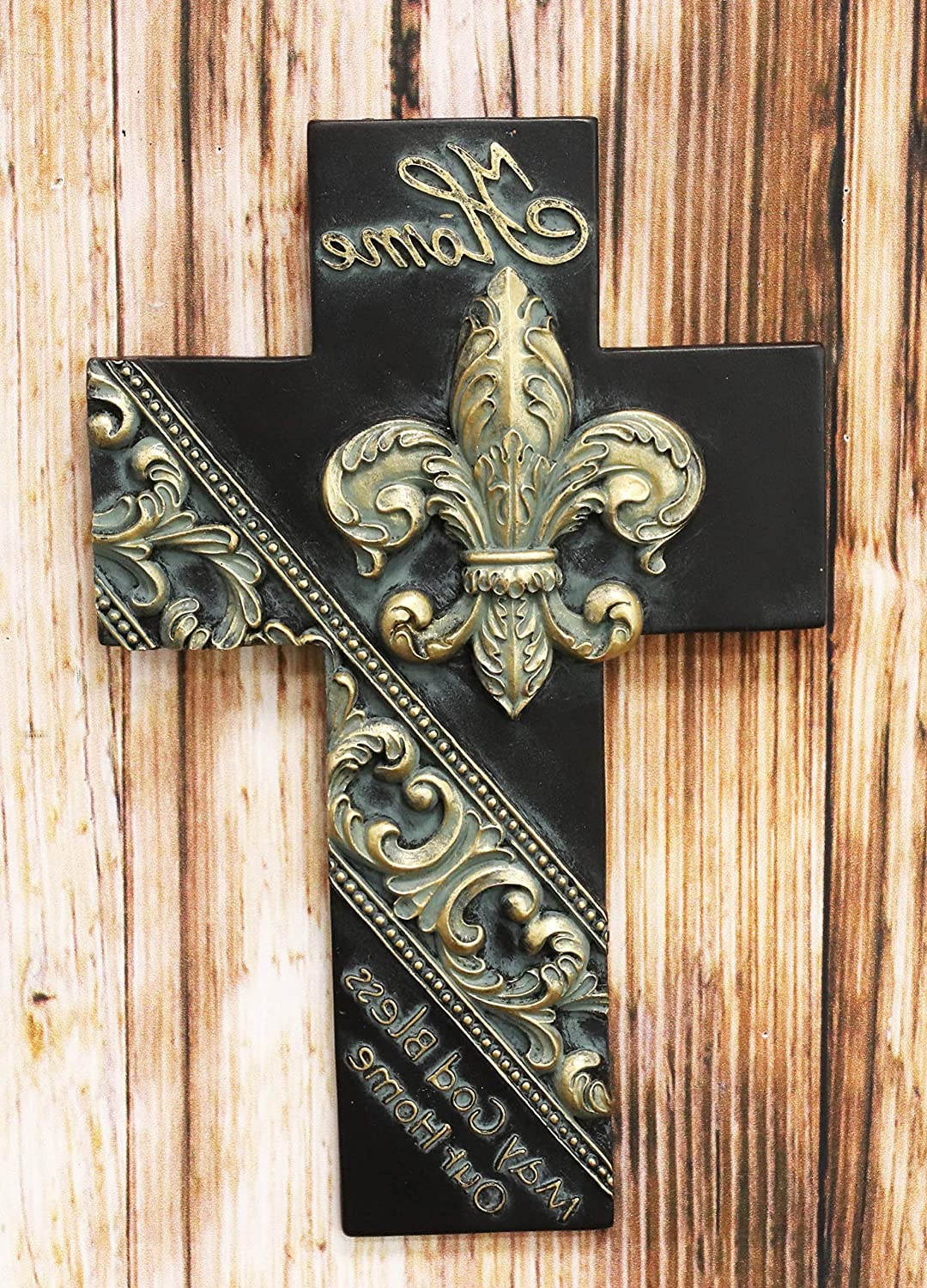 """Well Liked Scroll Wall Décor By Fleur De Lis Living With Ebros Rustic Southwest Fleur De Lis With Tuscan Scroll Art May God Bless Our Home Wall Cross Decor Plaque 10"""" Tall French Royalty Christian Accent (View 11 of 20)"""