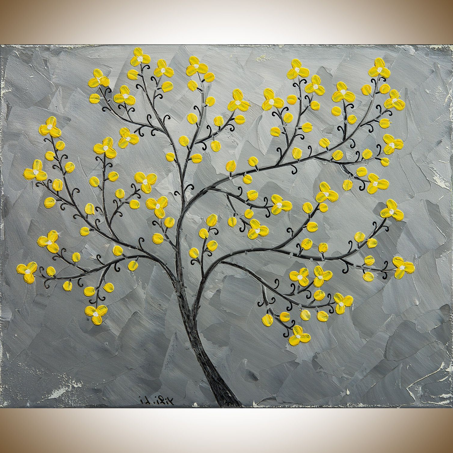 Well Liked Yellow Grey Painting Abstract Painting Original Artwork Wall Within Abstract Tree Wall Décor By Winston Porter (View 19 of 20)