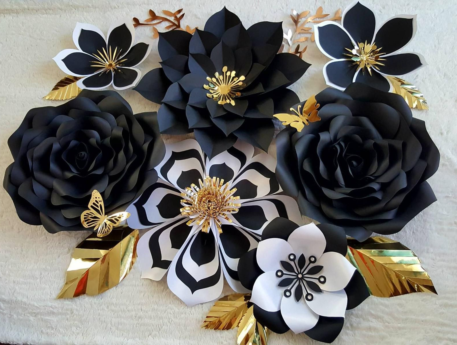 Whimsical Flower Wall Décor With Regard To Most Popular Whimsical Elegant Black And White Paper Flower Wall Decor (View 5 of 20)