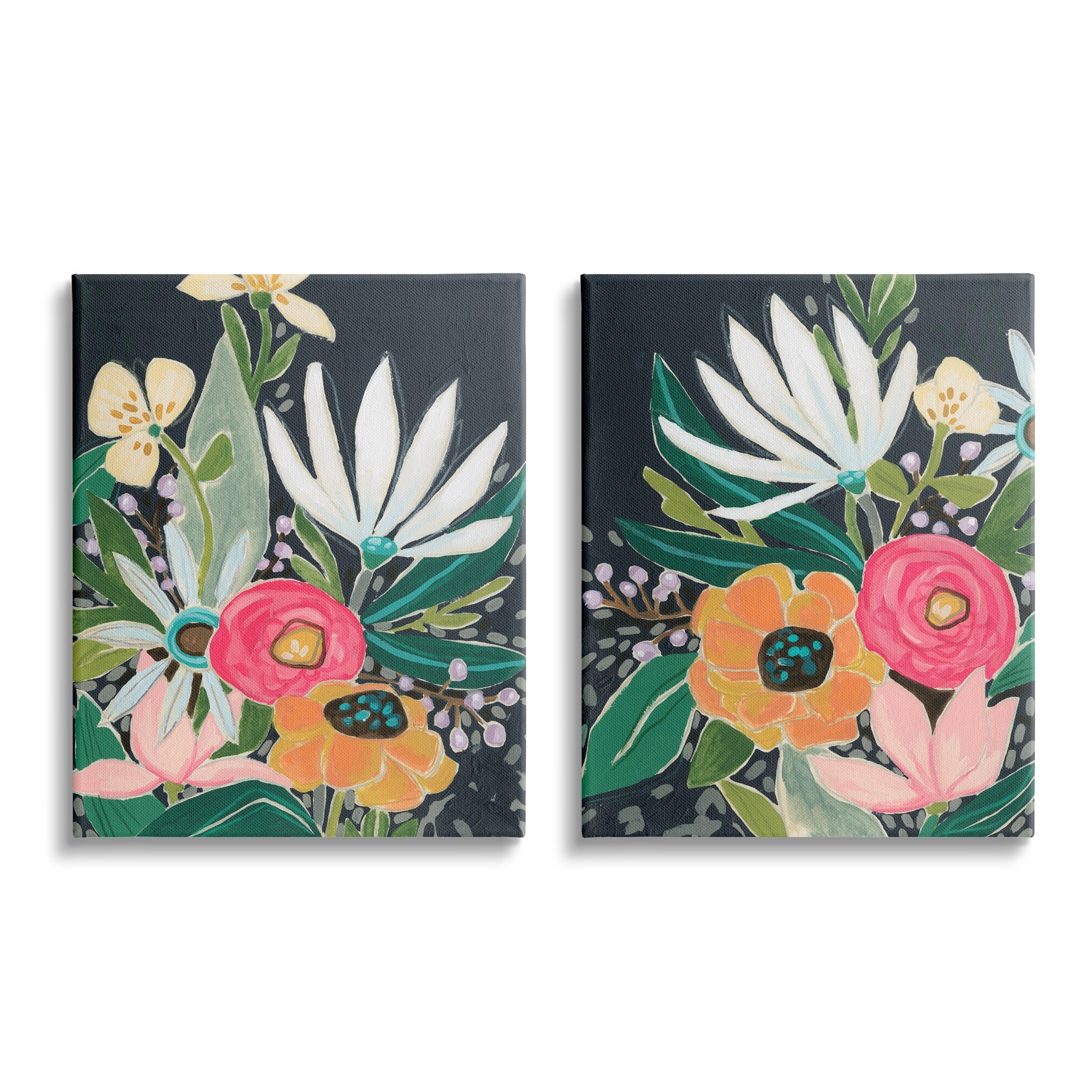 Whimsical Flower Wall Décor Within Preferred Stupell Industries Abstract Tropical Florals Whimsical Flower Petals Canvas Wall Art (View 18 of 20)