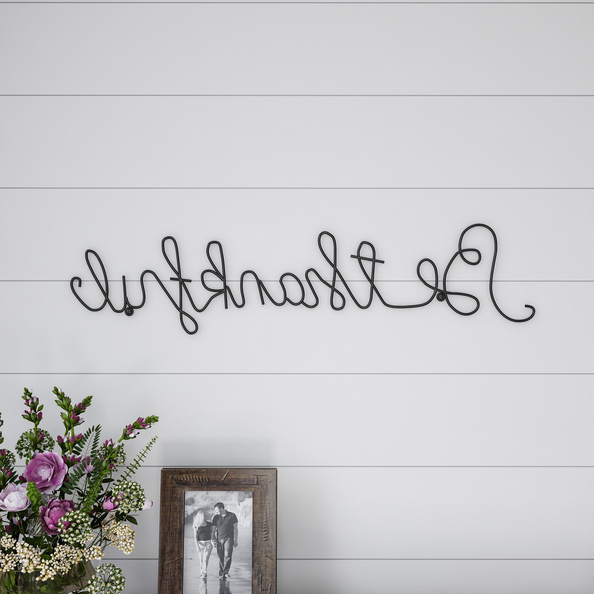 Widely Used Be Thankful' Cursive Metal Cutout Sign Black – Lavish Home Pertaining To Choose Happiness 3d Cursive Metal Wall Décor (View 8 of 20)
